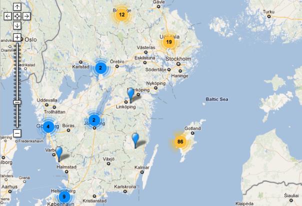 Geografiskt statistik över Flickjox-tweets 5-19 juli 2011