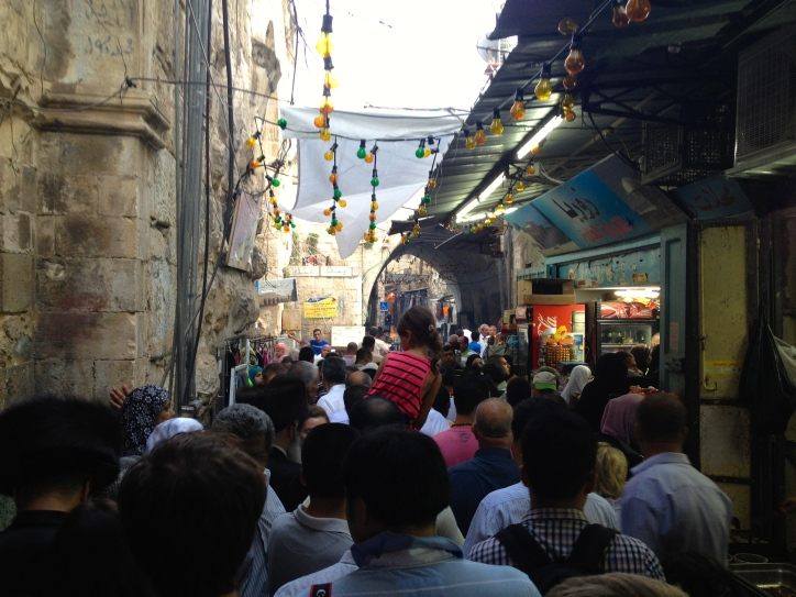 Packed bazaar in old town during Ramadan