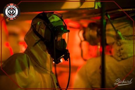 Radiation suit for work down in the reactor. Photo: John-Paul Bichard (CC-NC-ND)