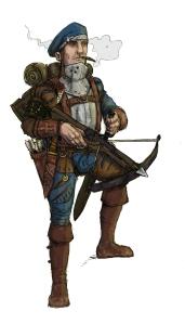 Crossbow foot knecht of The Guild. Illustration: Peter Edgar