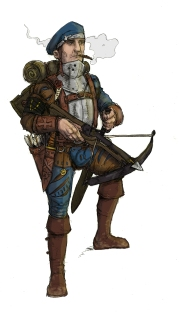 Crossbow foot knecht of The Guild. Illustration: Peter Edgar