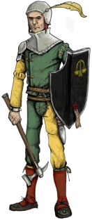 Shield equipped foot knecht of The Guild. Illustration: Peter Edgar