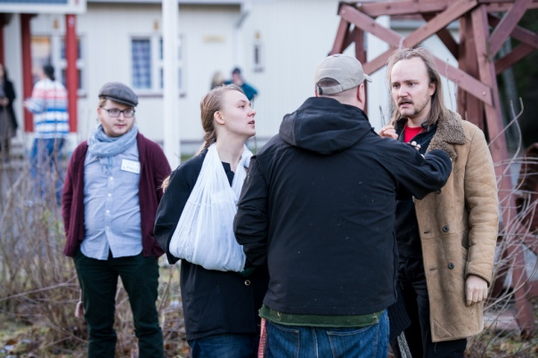 From the larp Hilat hisar. The pacifists and more militant foreign activists are having a physical disagreement about throwing rocks at the enemy soldiers. Ingame. Photo: Tuomas Puikkonen (CC-BY 2.0)