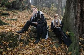Students in the dark forest. Ingame. Photo Christina Molbech